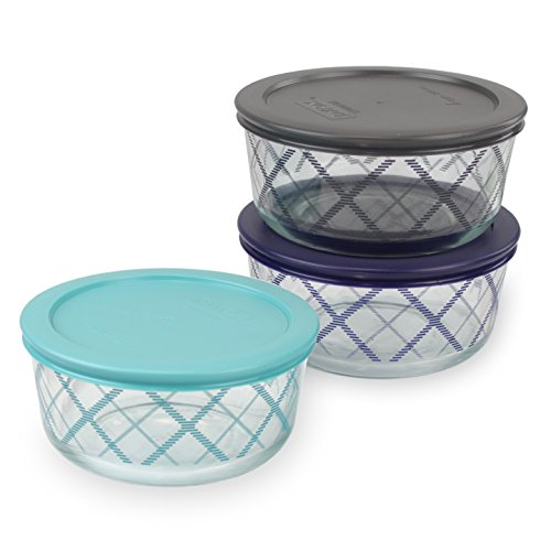 Limited Edition Plate (Pyrex 4 Cup Storage Dish Plaid 3-Pack Combo, Grey, Navy, Turquoise)