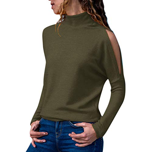 (Women Turtleneck T Shirt Fashion Solid Color Unique Design Cold Shoulder Long Sleeve Front Tunic Fitted Blouse Basic Comfy Casual Top)