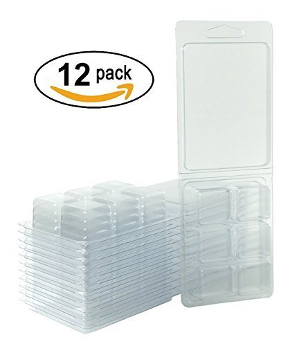 Clamshell Molds - Empty Plastic Clamshells | Wax Melt Molds | Wax Melt Containers For Candles – Set of Twelve (12) Clamshell Packaging Molds With 6 Cells That Hold 2.8 Ounces of Wax With Max Pour Temp Of 160°F