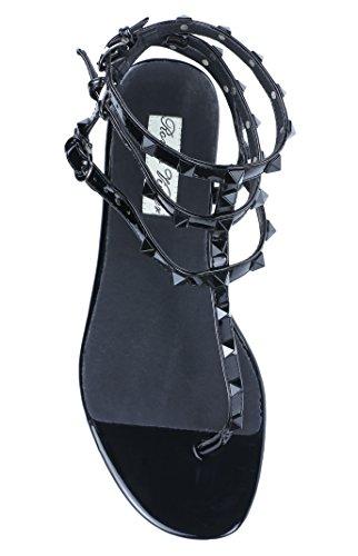 Royou Yiuoer Vrouwen Leren Bezaaid Sandalen T-strap Flats Sandalen Allemaal Zwart