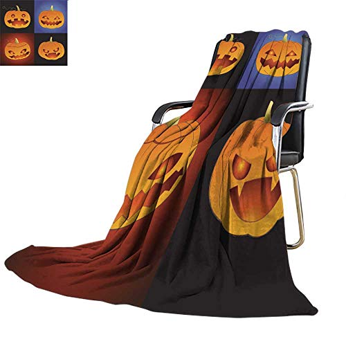 Bed Throw blanketthrow Blanket for bedSet of Pumpkin for Halloween in Various Styles 63