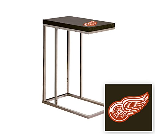 Black Laminate (Formica) and Chrome Finish Slide-Under TV Tray/End Table with Your Choice of a Sports Team Logo (Red Wings) by The Furniture Cove