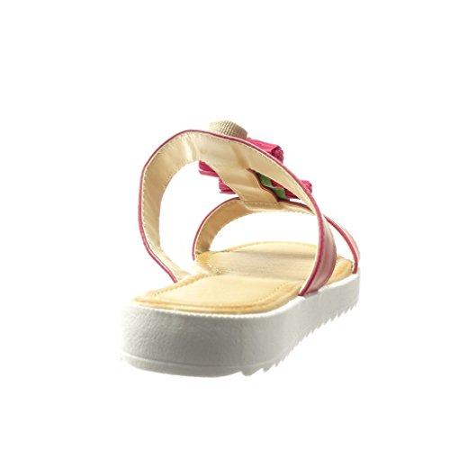 Angkorly - Scarpe da Moda sandali Mules donna gioielli frange pon pon Tacco tacco piatto 2 CM - Fushia