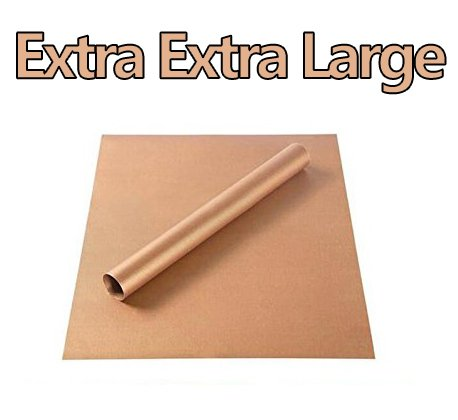 FDA Approved Safety Teflon Sheet Extra Extra Large Copper 49x16 inches Oven Liners Non-Stick BBQ Grilling Mats Thickness 0.16 mm Reusable & Heat Press Transfer Craft Mat (Copper, 49x16(inches))