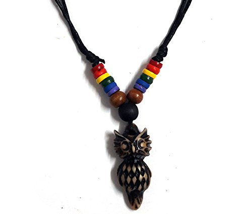 [Owl Hemp Color Black Wood Beads Owl Rainbow Hemp Pendant Necklace Lucky Owl Necklace] (Dance Moms Amber Alert Costumes)