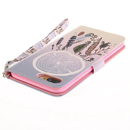 Funda iPhone 7 plus,SainCat Funda de cuero sintético tipo billetera con correa de cordón de Suave PU Carcasa Con Tapa y Cartera,Ranuras para Tarjetas y Billetera Funda de Flip Ranuras Tarjeta Slots Fu Color Campanula