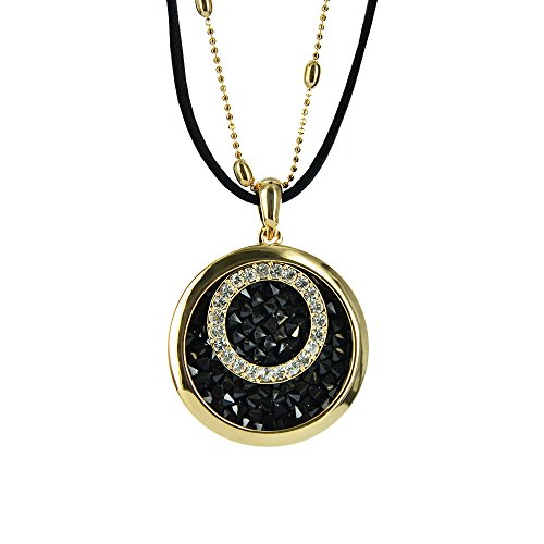 Twinkle Crystal Metal Pendant Necklace - Opera Round (Black) (Homemade Bird Costumes For Adults)