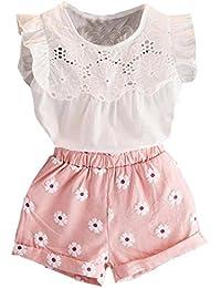 2PCS Set Toddler Kids Baby Girls Outfits Clothes T-Shirt Vest Tops+Shorts Pants(2-6 T)