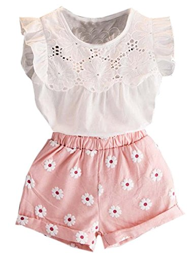 Happy Town 2PCS Set Toddler Kids Baby Girls Outfits Clothes T-Shirt Vest Tops+Shorts Pants(2-6 T) (Pink, 3 T)
