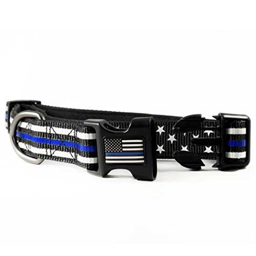 - Dog Collar - Thin Blue Line (2 Styles Available) (Large, Stars & Stripes)
