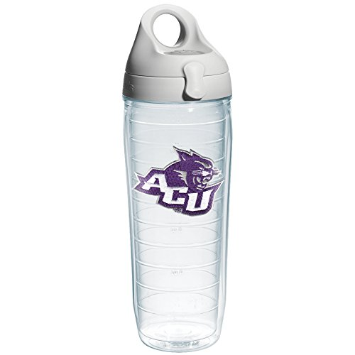 Tervis 1141487 Abilene Christian University Emblem Individual Water Bottle with Gray lid, 24 oz, Clear