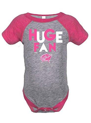 NHL Columbus Blue Jackets Girls Infant Onesies, 18 Months, Heather Grey/Hot (Pink Nhl Jacket)