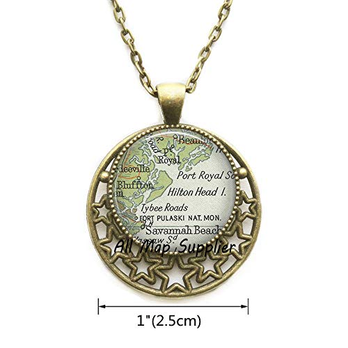 (AllMapsupplier Fashion Necklace,Hilton Head Island,South Carolina map Pendant,Hilton Head map Necklace,Hilton Head map Pendant,A0102 (2))