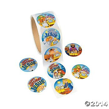 HAPPY BIRTHDAY JESUS - 200 Stickers - (2 Rolls of 100) CHRISTMAS Party RELIGIOUS Education VBS - Classroom GIVEAWAYS HOLIDAY (Christmas Roll Stickers)