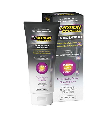 InMotion Hemp Pain Relief Cream 2.5 Ounce VALUE SIZE - Fast Acting Topical Analgesic With Boswellia Serrata And Cetyl Myristoleate For Arthritis, Tendinitis, Back, Knee, Muscle, Foot, and Elbow (Analgesic Creme Rub)