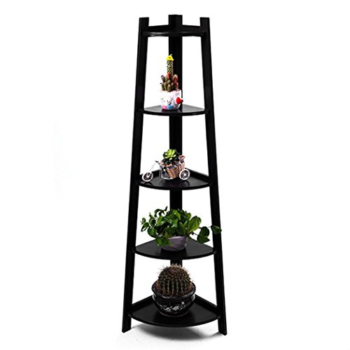 Asunflower 5-Tier Wooden Ladder Shelf, Espresso Wall Corner Bookshelf