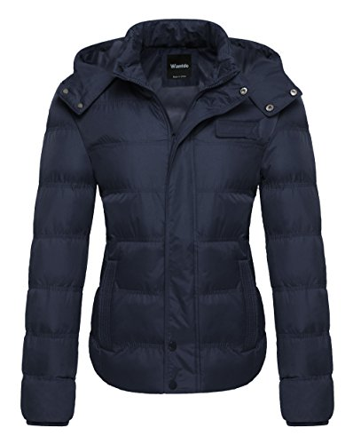Wantdo Women's Quilted Winter Parka Coat with Removable Hood Outwear Small Navy