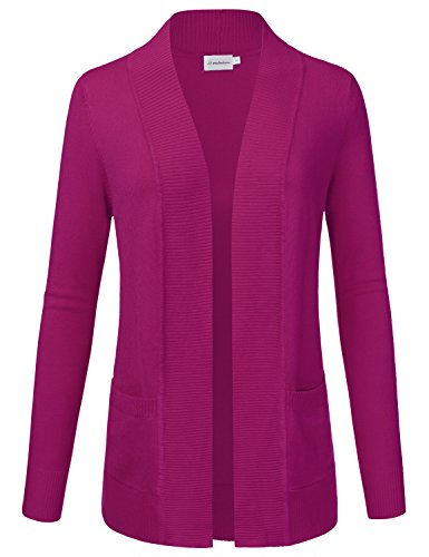 - JJ Perfection Women's Open Front Knit Long Sleeve Pockets Sweater Cardigan MAGENTA2 M