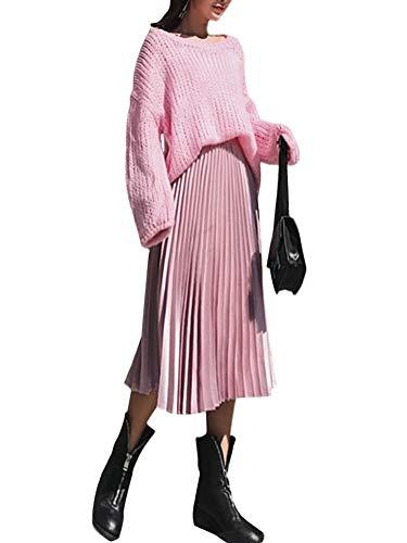 Midi Plissée Vintage Rose Haute Velours Jupe Femme Mi Taille Tomwell De Cocktail Evasée Longue fT4A6Fwqc7