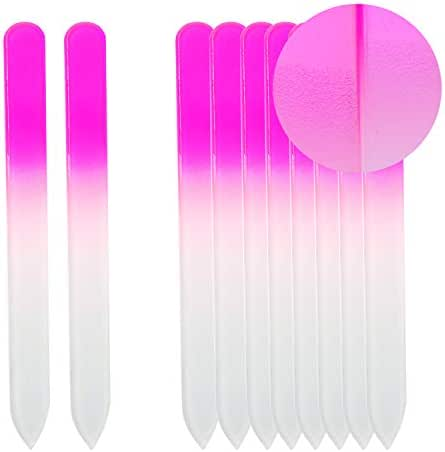 SIUSIO Set of 10 Professional Crystal Glass Nail Files Buffer Manicure Gradient Rainbow Color for Nail polishing- Best for Fingernail & Toenail Care(Pink)