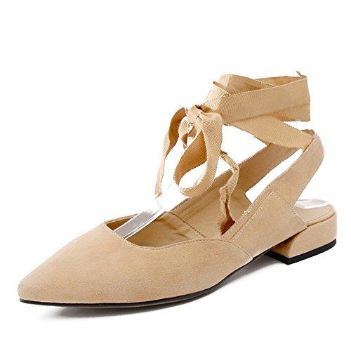Ballet Los Amarrar De Zapatos Bajos Con Mujer Cómodos Zapatos Zapatos Una Sola Beige Que De Punta GAOLIM Mujer Plano Zapatos Muelle w4IBS5xxnq