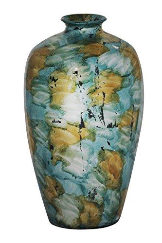 Heather Ann Creations Ruth Ceramic Vase Decorative Water Jar Floor, Blue/Gold/White by Heather Ann Creations