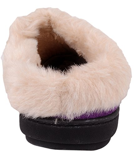 Slip Fur with Ladies Inners Slippers Faux Mules On Shoes Purple Warm Indoor Womens r0Svq0x5