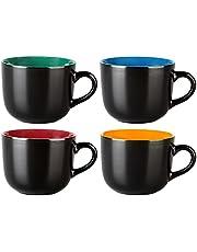 GBHOME Jumbo Coffee Mugs Set of 4 , Large Ceramic Soup Mugs with Handles, 24oz Large Mug Suitable for Soup Bowls, Cereal Bowls, Snacks, Salad, Pasta, Matt Black, Colorful inside