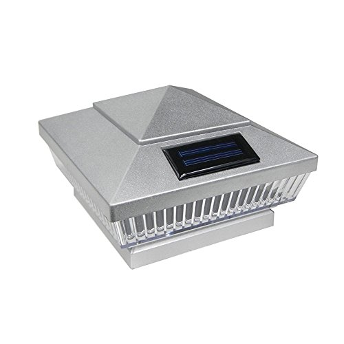 Price comparison product image Commart 8 Silver Outdoor Garden Solar 5 LEDs Post Deck Cap Square Fence Light Ships from USA