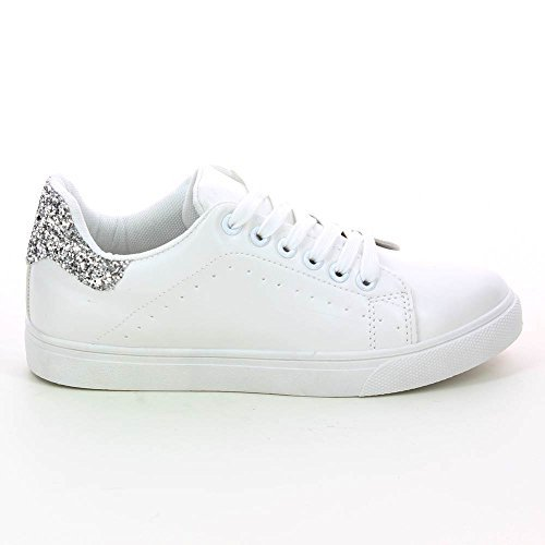Go Tendance - Zapatillas Blancas decoración Lentejuelas - Mujer: Amazon.es: Zapatos y complementos