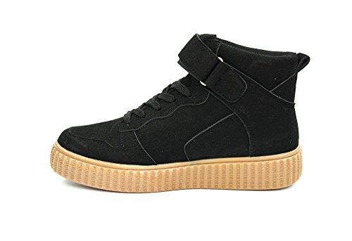 SHY34 * Baskets Montantes Sneakers Tissu Effet Daim Uni avec Semelle Plateforme Compensée - Mode Femme (Noir) - 40