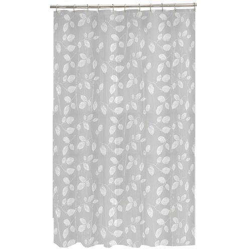 Maytex Mills 60090 Just Leaves  Shower Curtain,  White - Plastic Curtain Transparent