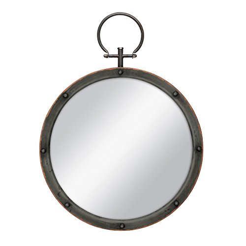 Stonebriar Round Rustic Bronze Metal Mirror with Rivet Detail & Hanging Ring for Wall, Industrial Home Décor (Framed Decorative Metal Mirrors)