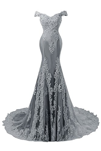 Himoda Women's V Neckline Beaded Evening Gowns Mermaid Lace Prom Dresses Long H074 10 Grey by Himoda