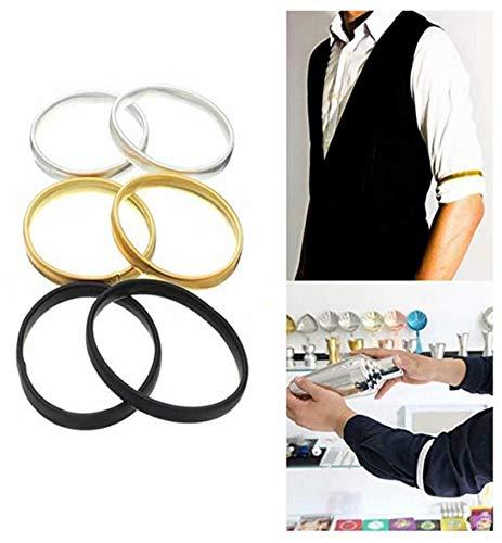 REGOU 1PC Elastic Metal Shirt Sleeve Holders Anti-Slip Shirt Sleeve Holders Garters Stretch Metal Armbands for Bartender Men