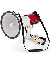 Auna - MEGA080USB, Megáfono, Micrófono de Mano, Grabadora, 80W, MP3, USB, Intemperie, Alcance 700 m, Correa de Hombro, Modo Habla, Sirena o silbido, A Pilas, Color Rojo