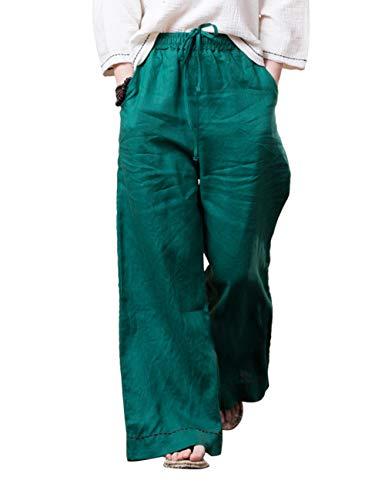 Linen Larghi Indossare Stile Verde Signore Pantaloni Vita Traspirante Le Pants Zhhlaixing Tessuto Qualità Elastico Biancheria Quotidiano Spiaggia 6qxda85B