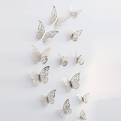 Chrome Special Edition Guitar - Gotian 3D Hollow Butterfly Design Decal Art Wall Stickers Magnetic for Fridge Wedding Home Decor Decal Applique Pack of 12 (Silver 3)