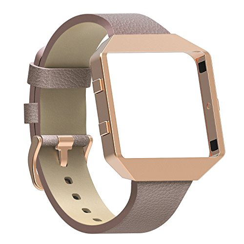 Austrake For Fitbit Blaze Bands with New Metal Frame, Replacement Leather Slim Straps with Stainless Steel Buckle for Fitbit Blaze Strap for Women Men,Grey by Austrake