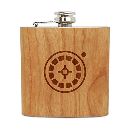 WOODEN ACCESSORIES COMPANY Cherry Wood Flask With Stainless Steel Body - Laser Engraved Flask With Roulette Table Design - 6 Oz Wood Hip Flask Handmade In ()