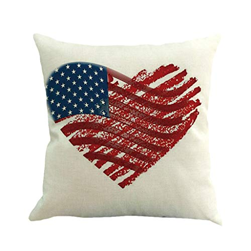 Makaor_Home Throw Pillow Cover Blue Americana Patriotic Design Independence Day Celebration of 4Th July Red America Memorial Decorative Pillow Case Home Decor Square 18x18 Inches Pillowcase (J)