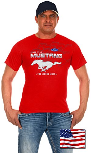 Mens Ford Mustang T-Shirts with Exclusive American Flag Sticker (Large, CLG0-Red) (Mustang Red T-shirt)