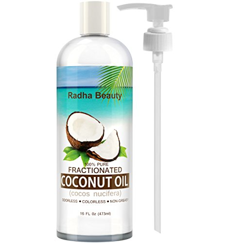 Radha Fractionated Coconut Oil 16 Oz - 100% Pure & Natural Carrier and Base Oil for Aromatherapy, hair and Skin - free PUMP , 16 fl oz