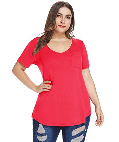 MONNURO Womens Plus Size Shirts Casual V Neck Short Sleeve Tunic Top with Pocket(Red,2X)