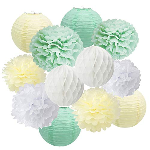 - Mint Green Baby Shower Decorations Set-Sage Green White Poms & Lantern, First Year Birthday, Boys Cake Smash Decoration, Mint Green Pastel Wedding