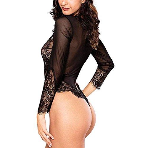 LtrottedJ Women Sexy Lingerie,Long Sleeve Bodysuit Sexy Lace Deep V Bodydoll Lingerie (M, Black)