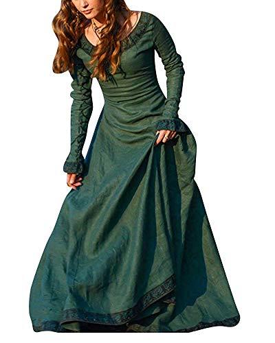 Mangas Jinsh 27 Green 3xl De Medieval Con color Para Fiesta 45 Vestido Halloween bust Blue Inch Vintage Mujer Size qzBrpq