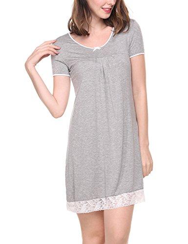 (HOTOUCH Nightshirts for Women Plus Szie Scoop Neck Sleep Tee Nightshirt Light Grey XL)