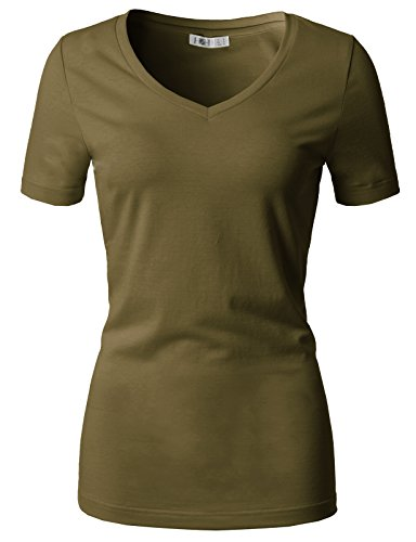 Green Tee T-shirt Top - H2H Women's Solid Cute Detail Casual Tee Shirt of Various Styles Olive US XL/Asia XL (CWTTS0151)