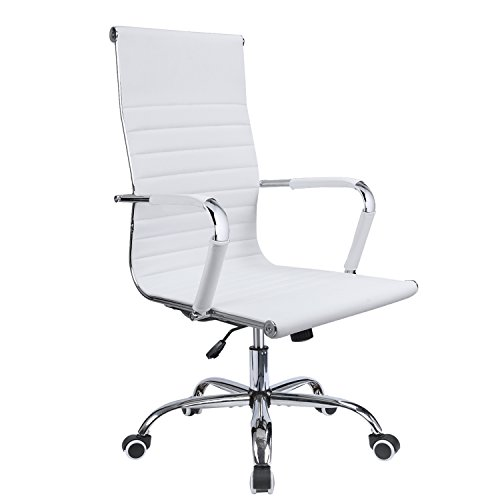 Devoko Office Desk Chair Mid Back Leather Height Adjustable Swivel Ribbed Chairs Ergonomic Executive Conference Task Chair with Arms (White)